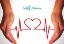 iki el arasındaki kırmızı kalp atış çizgisi